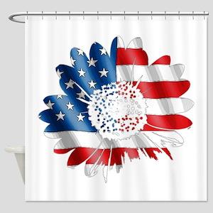 Patriotic Sunflower Shower Curtain