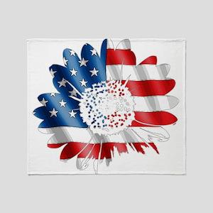 Patriotic Sunflower Throw Blanket