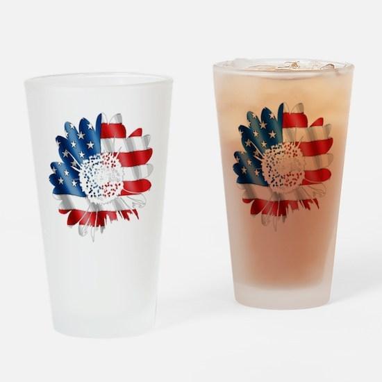 Patriotic Sunflower Drinking Glass