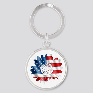 Patriotic Sunflower Round Keychain