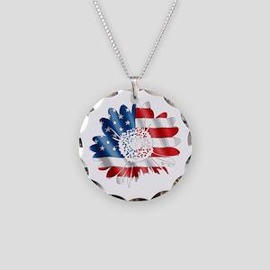 Patriotic Sunflower Necklace Circle Charm
