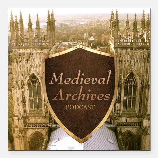 """Medieval Archives Podcas Square Car Magnet 3"""" x 3"""""""