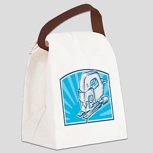 Jigsaw Power Tool Woodcut Retro Canvas Lunch Bag