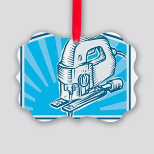 Jigsaw Power Tool Woodcut Retro Picture Ornament