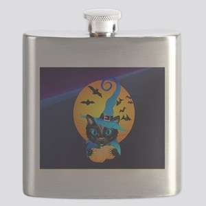 Mens f Blue Witch Kitty -Harvest Moon Flask