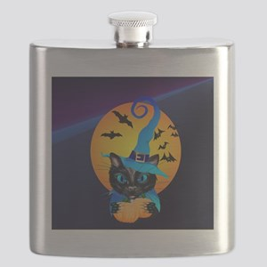 Womens f Blue Witch Kitty -Harvest Moon Flask