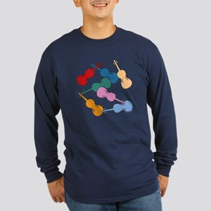 Colorful Violins - Long Sleeve Dark T-Shirt