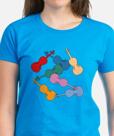 Colorful Violins - Women's Dark T-Shirt