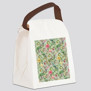 Colorful Floral Pattern Canvas Lunch Bag