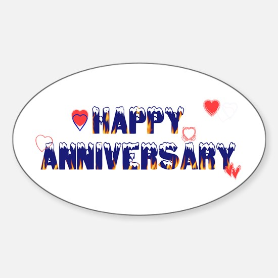 Happy Anniversary-melt Oval Decal