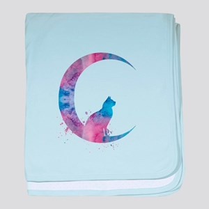 Cat sitting on the moon baby blanket
