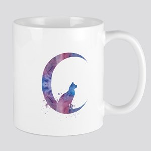 Cat sitting on the moon Mugs