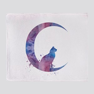 Cat sitting on the moon Throw Blanket