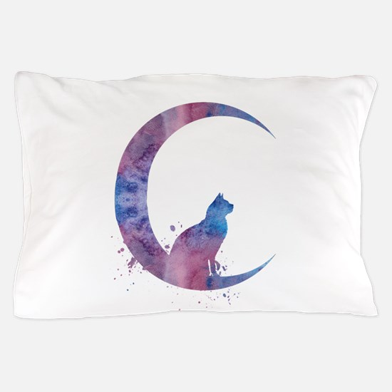 Cat sitting on the moon Pillow Case