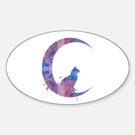 Cat sitting on the moon Decal