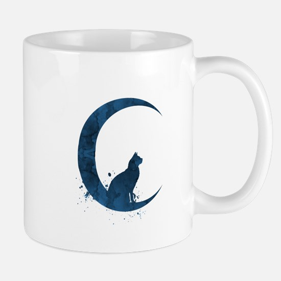 Cat sitting on the moon Mugs