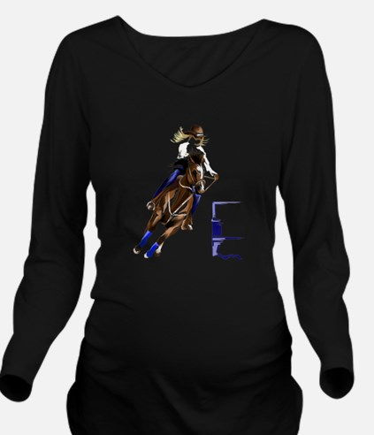 Barrel Horses Long Sleeve Maternity T-Shirt