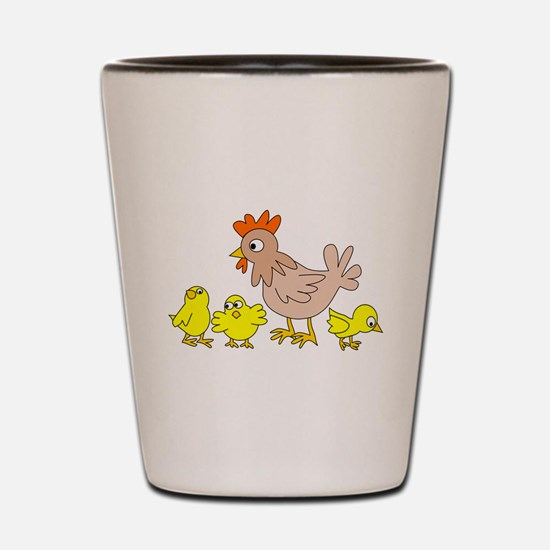 Hen With Chicks Shot Glass