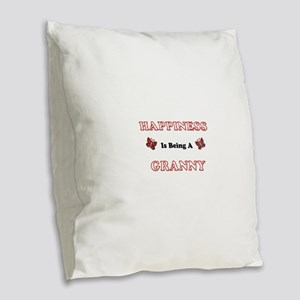 Happiness Is Being A Granny Burlap Throw Pillow