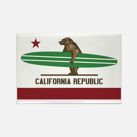 California Surfing Bear Longboard Rectangle Magnet