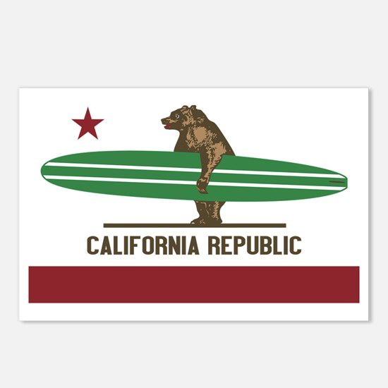 California Surfing Bear L Postcards (Package of 8)