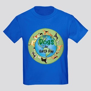Earth Day Dogs Kids Dark T-Shirt
