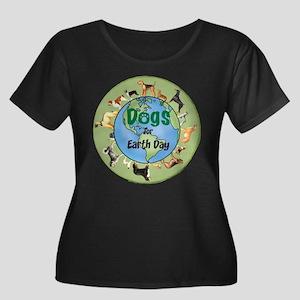 Earth Day Dogs Women's Plus Size Scoop Neck Dark T