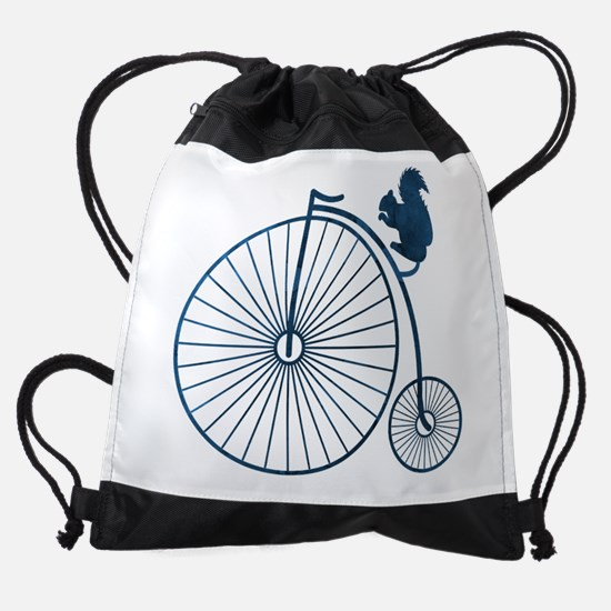 Squirrel on a high wheel Drawstring Bag