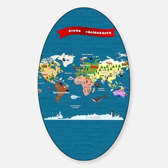 World Map For Kids - Swedish Sticker (Oval)