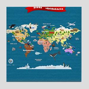 World Map For Kids - Swedish Tile Coaster
