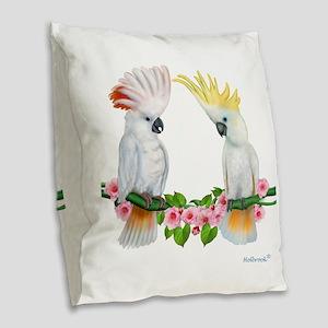 Cockatoo Burlap Throw Pillow