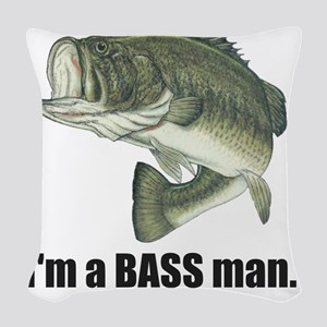 bass man Woven Throw Pillow