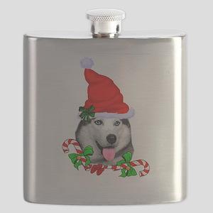 Siberian Husky Christmas Flask