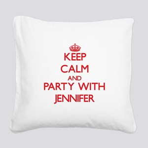 Keep Calm and Party with Jennifer Square Canvas Pi