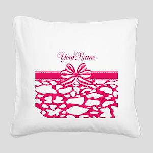 Girly Hot Pink Ribbon Square Canvas Pillow
