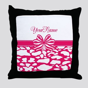 Girly Hot Pink Ribbon Throw Pillow