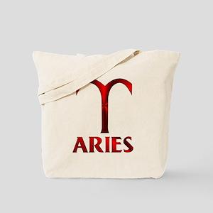 Red Aries Symbol Tote Bag