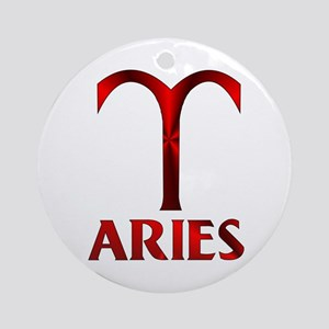 Red Aries Horoscope Symbol Ornament (Round)