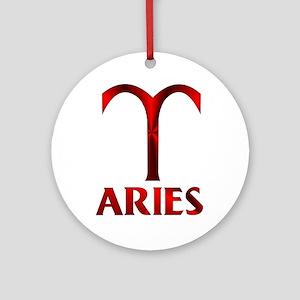 Red Aries Symbol Round Ornament