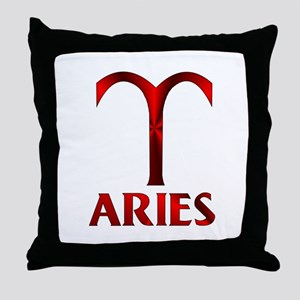 Red Aries Horoscope Symbol Throw Pillow