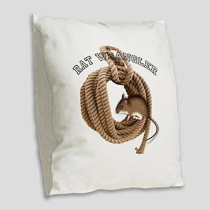 ratwrangler Burlap Throw Pillow