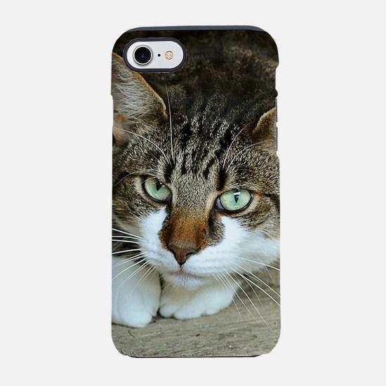 Cat White Paws Green Eyes iPhone 7 Tough Case