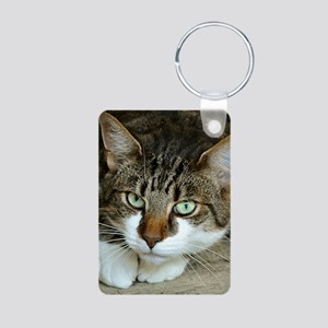 Cat White Paws Green Eyes Keychains