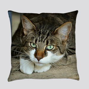 Cat White Paws Green Eyes Everyday Pillow