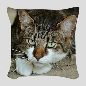 Cat White Paws Green Eyes Woven Throw Pillow