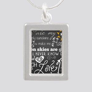 You Are My Sunshine Silver Portrait Necklace