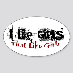 I Like Girls Oval Sticker