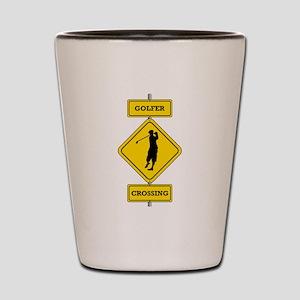 Golfer Crossing Shot Glass