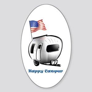 Happy Camper USA Sticker (Oval)