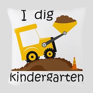 I Dig Kindergarten Woven Throw Pillow
